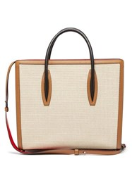 Christian Louboutin Paloma Large Canvas And Leather Tote Bag Ivory Multi