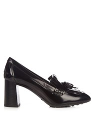 Tod's Gomma Fringed Patent Leather Pumps Black