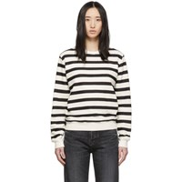 Saint Laurent Off White And Black Striped Marine Sweatshirt