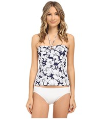 Shoshanna Hand Drawn Poppies Ring Tankini Top Navy White Women's Swimwear Blue