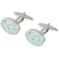John Lewis Mother Of Pearl Mosaic Cufflinks Mother Of Pearl Silver
