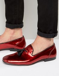 Asos Loafers In Red Metallic Red