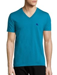 Burberry Solid Lindon V Neck Tee Turquoise