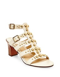 Brian Atwood Blaise Leather Sandals Bone