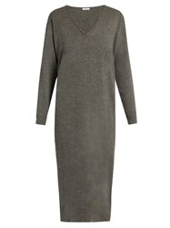 Tomas Maier V Neck Cashmere Knit Dress Mid Grey