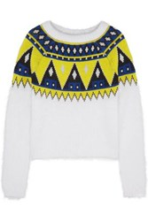 Aimo Richly Fair Isle Angora And Wool Blend Sweater White