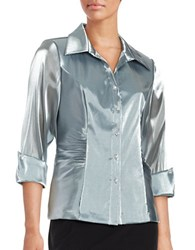 Alex Evenings Metallic Button Front Shirt Silver