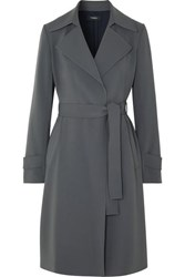 Theory Oaklane Belted Crepe Coat Gray