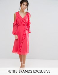 True Decadence Petite Cold Shoulder Wrap Front Ruffle Detail Skater Dress Coral Pink