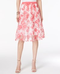 Ny Collection Floral Print Illusion A Line Skirt Pink Floral