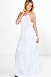 Boohoo Rope Tie Maxi Dress White