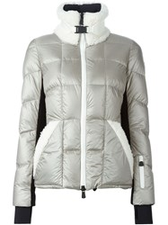 Moncler Grenoble Faux Shearling Trim Padded Jacket Grey