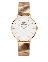 Daniel Wellington Classic Petite Stainless Steel Melrose White Dial Mesh Strap Watch Gold