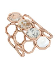 Kenneth Cole Under Construction Semi Precious Howlite And Mother Of Pearl Geometric Cuff Bracelet Rose Gold