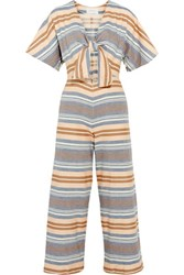 Solid And Striped The Tie Cutout Basketweave Cotton Jumpsuit Multi