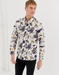 Selected Homme Regular Fit Shirt With All Over Print Navy