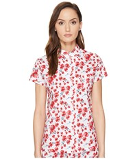 Emporio Armani Poppy Dream Cotton Loungewear Button Down Sleep Shirt Poppy Print Women's Pajama Red