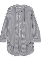 Balenciaga New Swing Striped Cotton Poplin Shirt Black