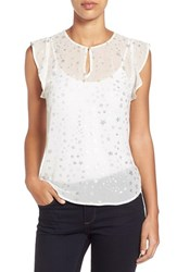 Women's Two By Vince Camuto Foiled Star Print Ruffled Keyhole Blouse