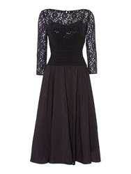 Eliza J Sweetheart Flared Dress With Lace Sleeves Black