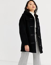 Gloverall Gloveral Mid Length Duffle Coat In Wool Blend Black