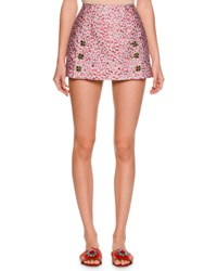 Dolce And Gabbana Leopard Print Fil Coupe Mini Skirt Pink Brown Gray