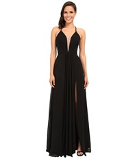 Faviana Chiffon V Neck Gown W Full Skirt 7747 Black Women's Dress