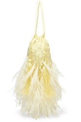 Attico Feather Trimmed Beaded Satin Pouch Yellow