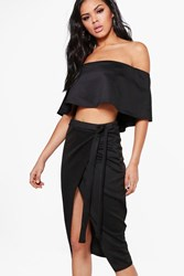 Boohoo Off The Shoulder Crop And Skirt Co Ord Black