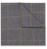 Oliver Spencer Checked Cotton Pocket Square Green