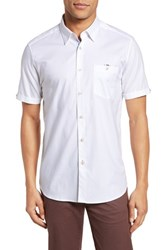 Ted Baker Big And Tall London Wallott Extra Slim Fit Short Sleeve Sport Shirt White