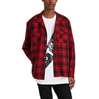 Mastermind Japan Plaid Cotton Flannel Camp Collar Shirt Red