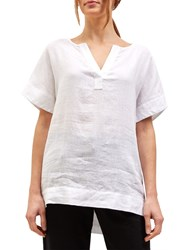 Jaeger Linen Split Sleeve T Shirt White