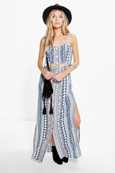Boohoo Paisley Cut Out Detail Maxi Dress Navy
