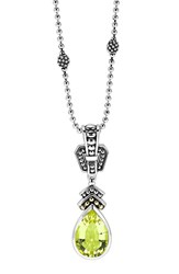 Women's Lagos 'Caviar Color' Teardrop Pendant Necklace Green Quartz