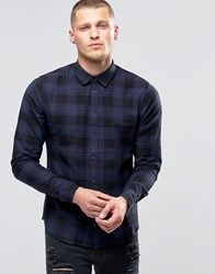Blend Of America Slim Check Shirt Blue Nights Blue Nights