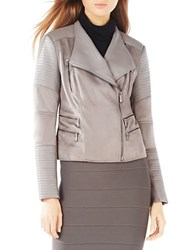 Bcbgmaxazria Olympia Faux Leather Trim Moto Jacket Grey