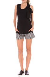 Women's Olian 'Megan' Stripe Maternity Shorts