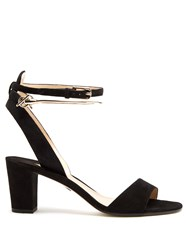 Paul Andrew Eckland Block Heel Suede Sandals Black Gold