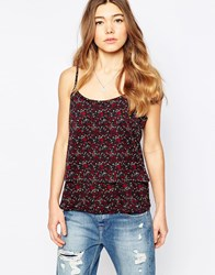 Only Floral Cami Top With Strappy Back Navy