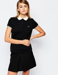 Fred Perry Textured Collar Polo Top Black