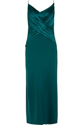 Dion Lee Draped Silk Satin And Silk Chiffon Midi Dress Green