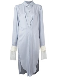 Loewe Fringed Striped Shirt Dress Blue