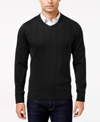 John Ashford Men's Big And Tall V Neck Striped Texture Sweater Only At Macy's Deep Black