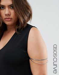 Asos Curve Double Curb Chain And Fine Arm Cuff Rhodium Silver