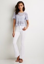 Forever 21 High Waisted Flared Jeans White