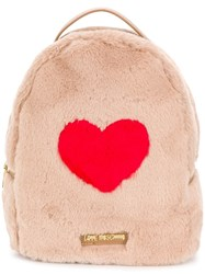 Love Moschino Faux Fur Backpack Nude And Neutrals