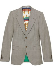 Gucci Houndstooth Wool Jacket Grey