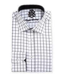 English Laundry Large Windowpane Check Dress Shirt Black