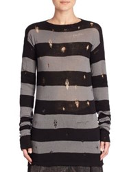 Marc Jacobs Deconstructed Wool And Cashmere Sweater Dark Grey Black